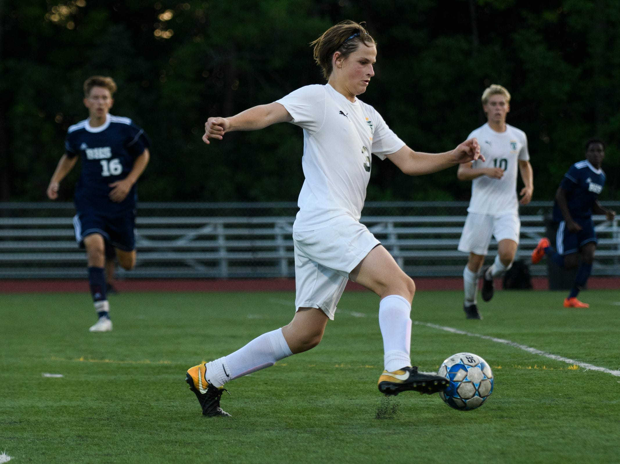 Stowe's Hans Huber plays the ball during the boys soccer game between Stowe and Burlington at Buck Hard field on Wednesday night September 5, 2018 in Burlington.
