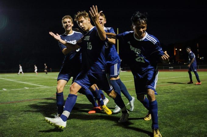 Burlington celebrates a goal during the boys soccer game between Stowe and Burlington at Buck Hard field on Wednesday night September 5, 2018 in Burlington.