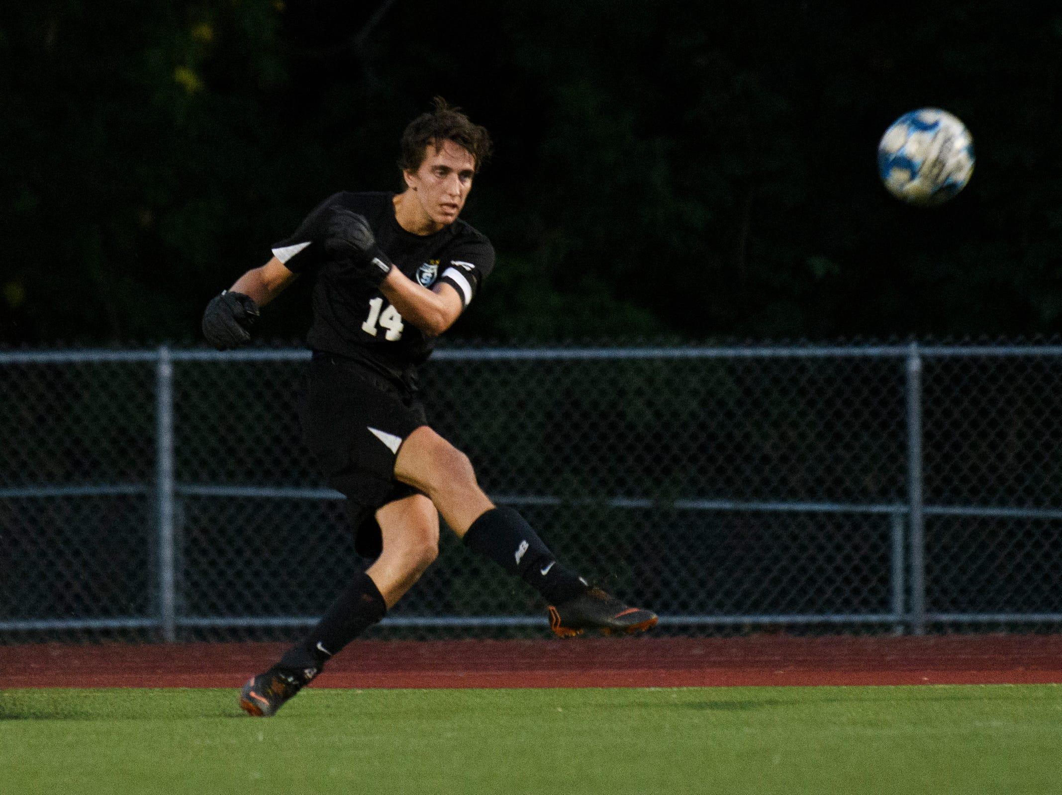 Stowe goalie Samuel Schoepke kicks the ball during the boys soccer game between Stowe and Burlington at Buck Hard field on Wednesday night September 5, 2018 in Burlington.