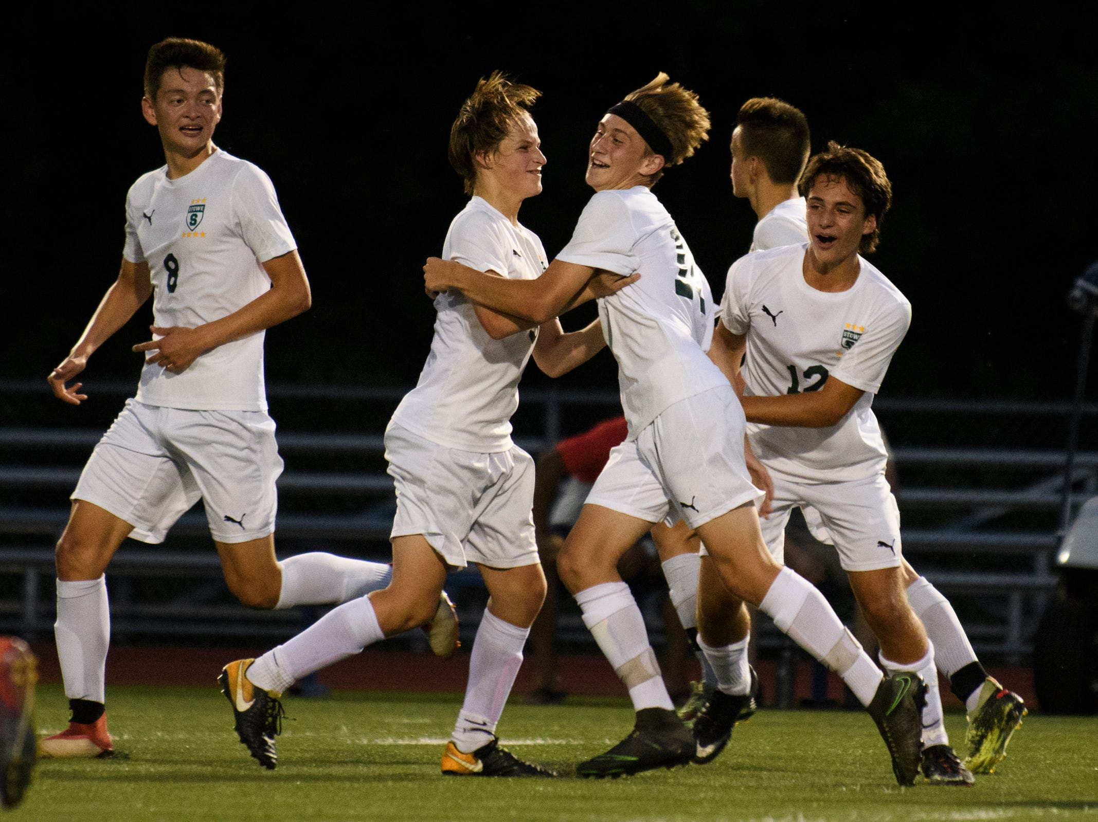 Stowe celebrates a goal during the boys soccer game between Stowe and Burlington at Buck Hard field on Wednesday night September 5, 2018 in Burlington.