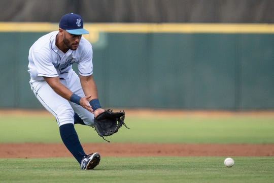 Hooks' Abraham Toro fields a ball during the third inning of the third League South Division playoff game against the Missions on Thursday, Sept. 6, 2018.