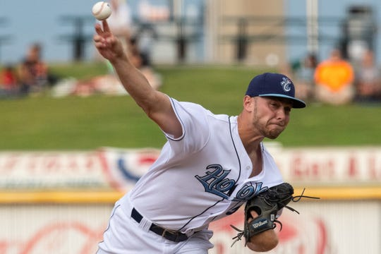 Hooks' Cornyn Martin throws a pitch during the third inning of the second League South Division playoff game against the Missions on Thursday, Sept. 6, 2018.