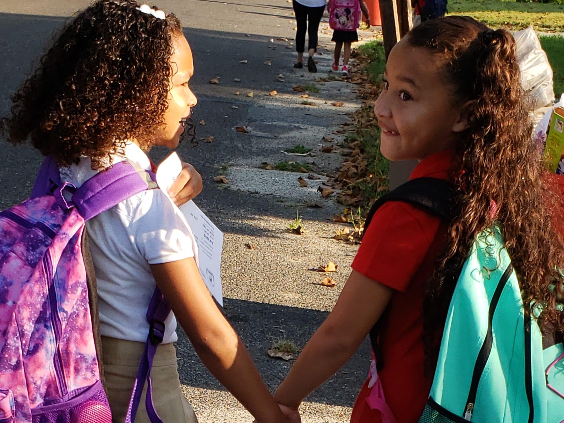 Back-to-school besties: Eva Calderon, first grade, and Leilani Gonzalez, second grade, at Durand School in Vineland.