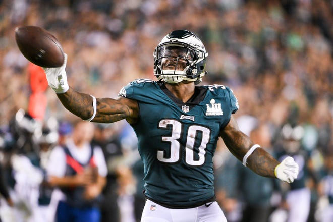 Eagles' Corey Clement (30) celebrates a first down against the Falcons Thursday, Sept. 6, 2018 in Philadelphia, Pa. Eagles won 18-12.