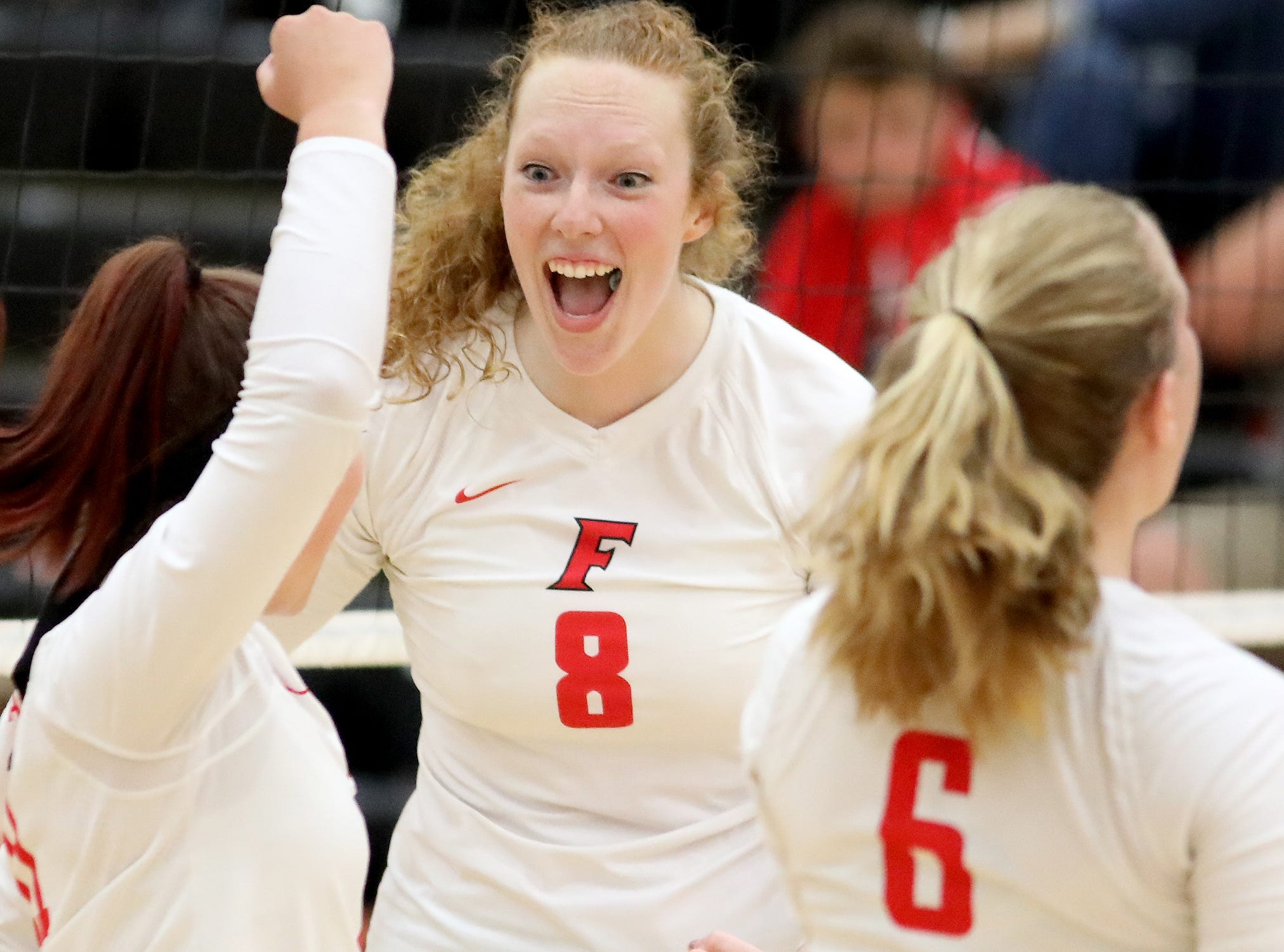 Fairfield's Ally Payne reacts during the Indians' volleyball game against Colerain, Thursday, Sept.6, 2018.