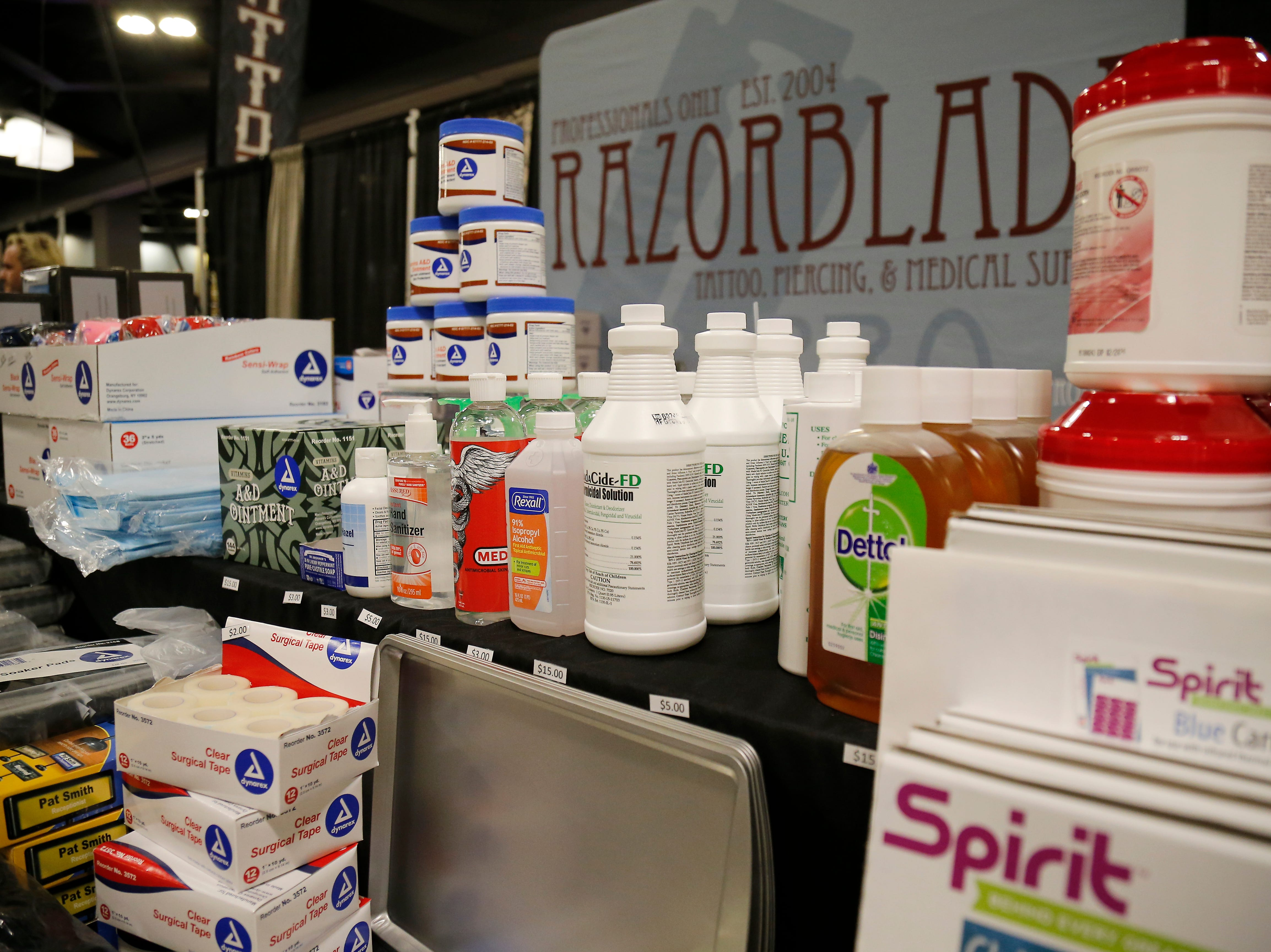 Tattoo supplies are displayed during the Greater Cincinnati Tattoo Arts Convention at the Northern Kentucky Convention Center in Covington, Ky., on Friday, Sept. 7, 2018.