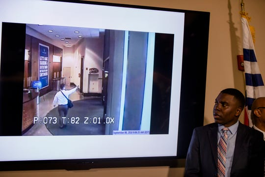 Security video of Omar Enrique Santa Perez fatal shooting spree is shown during a press conference on Friday, Sept. 7, 2018, in Cincinnati.