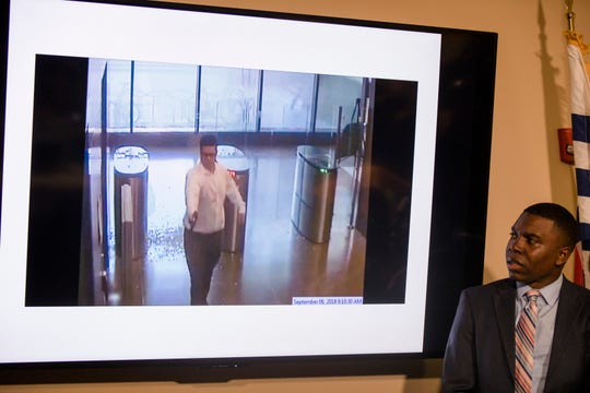 Security video of the Omar Enrique Santa Perez fatal shooting spree is shown during a press conference on Friday, Sept. 7, 2018, in Cincinnati.