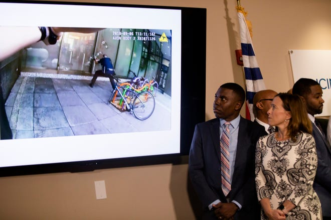 Body cam video of Omar Enrique Santa Perez fatal shooting spree is shown during a press conference on Friday, Sept. 7, 2018, in Cincinnati.