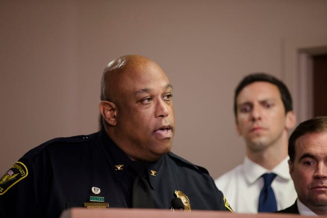 Cincinnati Police Chief Eliot K. Isaac speaks at a news conference Friday.