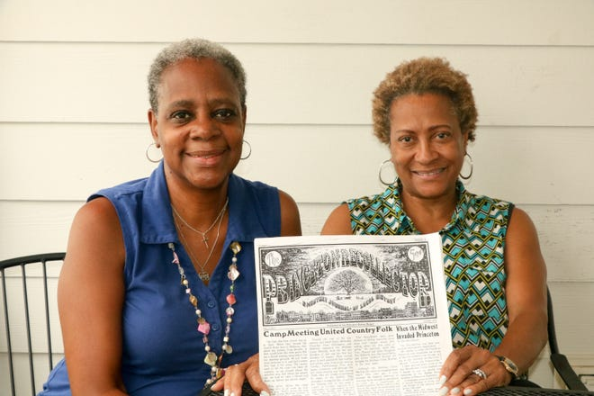 Stoutsburg Cemetery Association board members Elaine Buck and Beverly Mills.