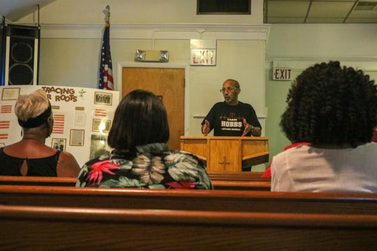 Ken Hobbs speaks at a recent meeting of The Hobbs Family Union at the Macedonia Baptist Church. In August, Hobbstown was formally recognized as a section of Bridgewater.