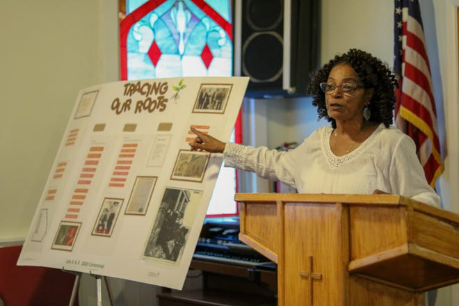 Nancy Hobbs-Bennett talks about the Hobbs family roots during a recent meeting of The Hobbs Family Union at the Macedonia Baptist Church in the Hobbstown section of Bridgewater.