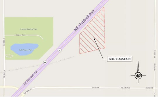 A Bondurant-based construction company plans to build a 21-acre industrial park off Highway 65. The above map shows the site location across from Lake Petocka Park