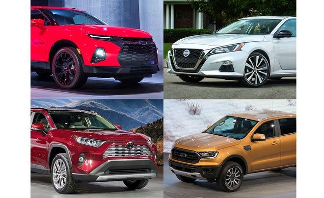 Clockwise from upper left, 2019 Chevrolet Blazer, 2019 Nissan Altima, 2019 Ford Ranger and the 2019 Toyota RAV4