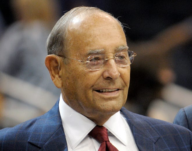 Richard DeVos, Orlando Magic owner and Amway Inc. co-founder, smiles after welcoming fans to the new Amway Center before a preseason NBA game in Orlando, Fla., on Oct. 10, 2010.