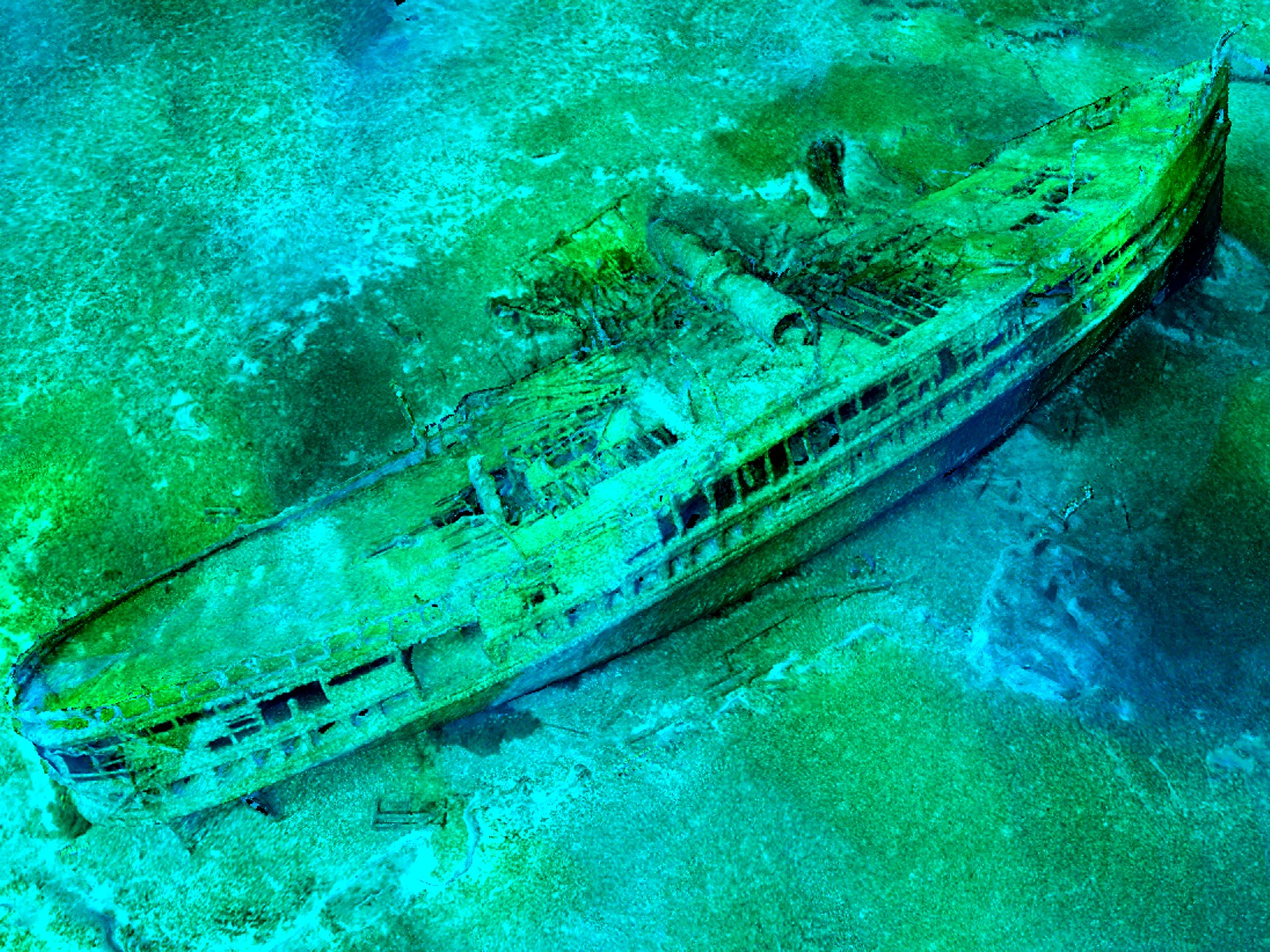 Using a method invented by search team member Jerry Eliason, 3D imaging of the J.H. Jones was created utilizing a special, remote-operated video camera lowered to the shipwreck. The toppled smoke stack lies near midship.
