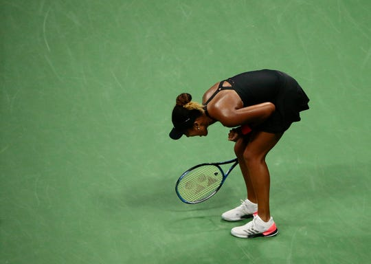 Naomi Osaka, of Japan, reacts after winning a point against Madison Keys during the U.S. Open semifinals Thursday night.