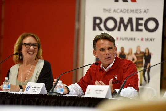 Macomb County Executive Mack A. Hackel (right) along with Cheryl Carrier, executive director, Ford Next Generation, speak during an Executive Briefing regarding the transformation of Romeo High School to the Academies at Powell Middle School on September 7, 2018.