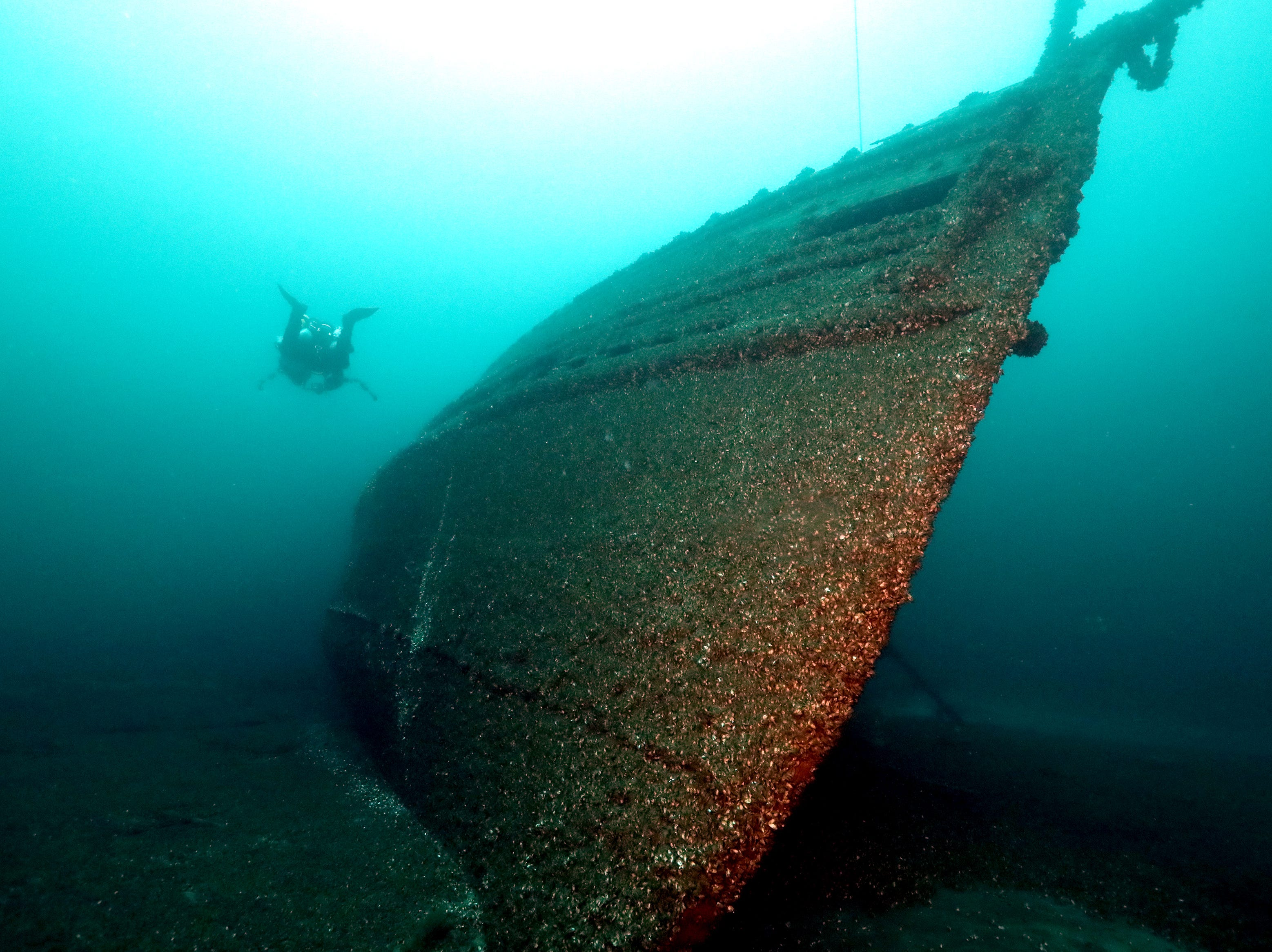 A diver glides past the bow of the J. H. Jones. The wreck sits in deep water with a heavy tilt to port.