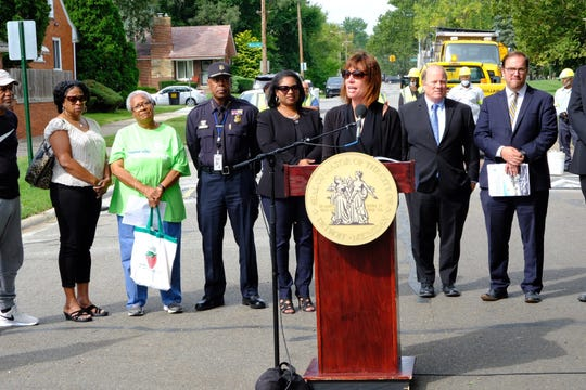 Janette Sadik Khan, former New York City transportation commissioner, speaks to residents Friday, Sept. 7, 2018 at the announcement of the new plan.