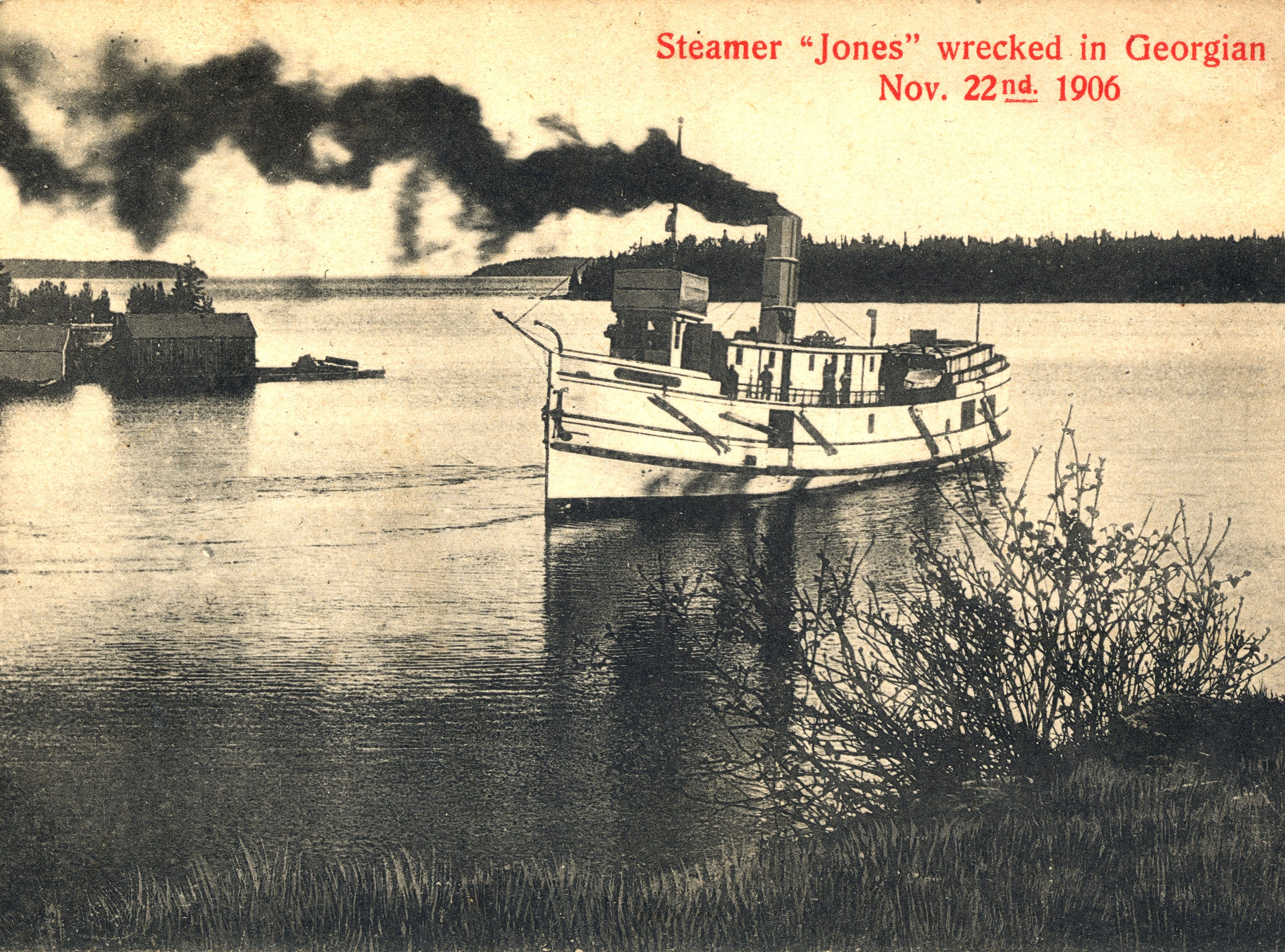 The steamer J. H. Jones carried supplies and passengers to many Lake Huron harbor towns on Manitoulin Island and Georgian Bay, such as Tobermory, depicted above.