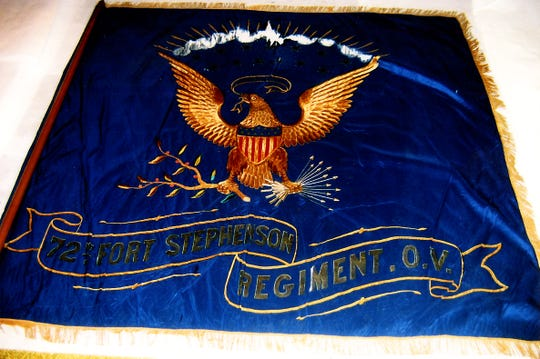 The original banner from the Civil War's famed 72nd Regiment, formed in Fremont by Col. Ralph P. Buckland, is on display at the Sandusky County Historical Society Museum.