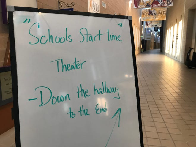 Poudre School District hosts first school start time community forum.