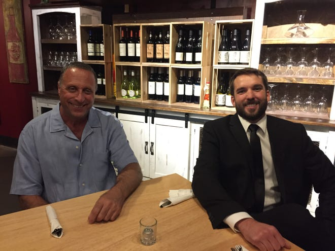 Mark Cohen, left, owner of Lirano Wine Bar at 3600 Mitchell Drive, and Casey Dunn, general manager, are pictured.