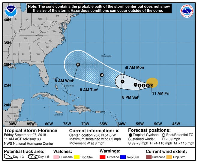 11 a.m. Friday, Sept. 7, 2018, Tropical Storm Florence update.