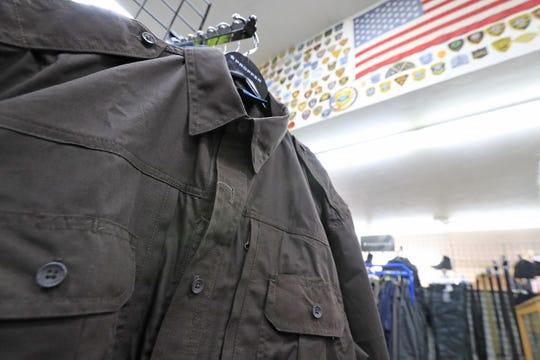 A blended polyester-cotton shirt for law enforcement at the Uniform Shoppe in Bellevue.