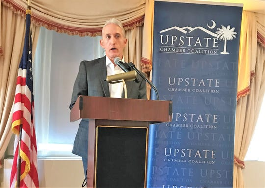 Rep. Trey Gowdy speaks Thursday, Sept. 6, 2018, to an Upstate Chamber Coalition delegation that was visiting Washington, D.C., for the week to learn more about national economic issues.