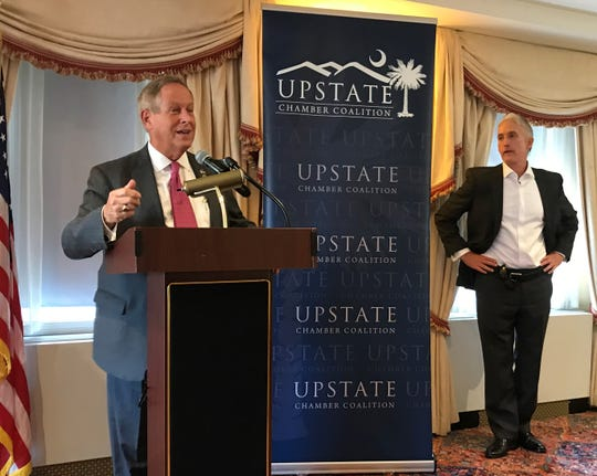 Rep. Joe Wilson of South Carolina speaks Thursday, Sept. 6, 2018, in Washington, D.C., to a delegation from the Upstate Chamber Coalition as Rep. Trey Gowdy looks on.