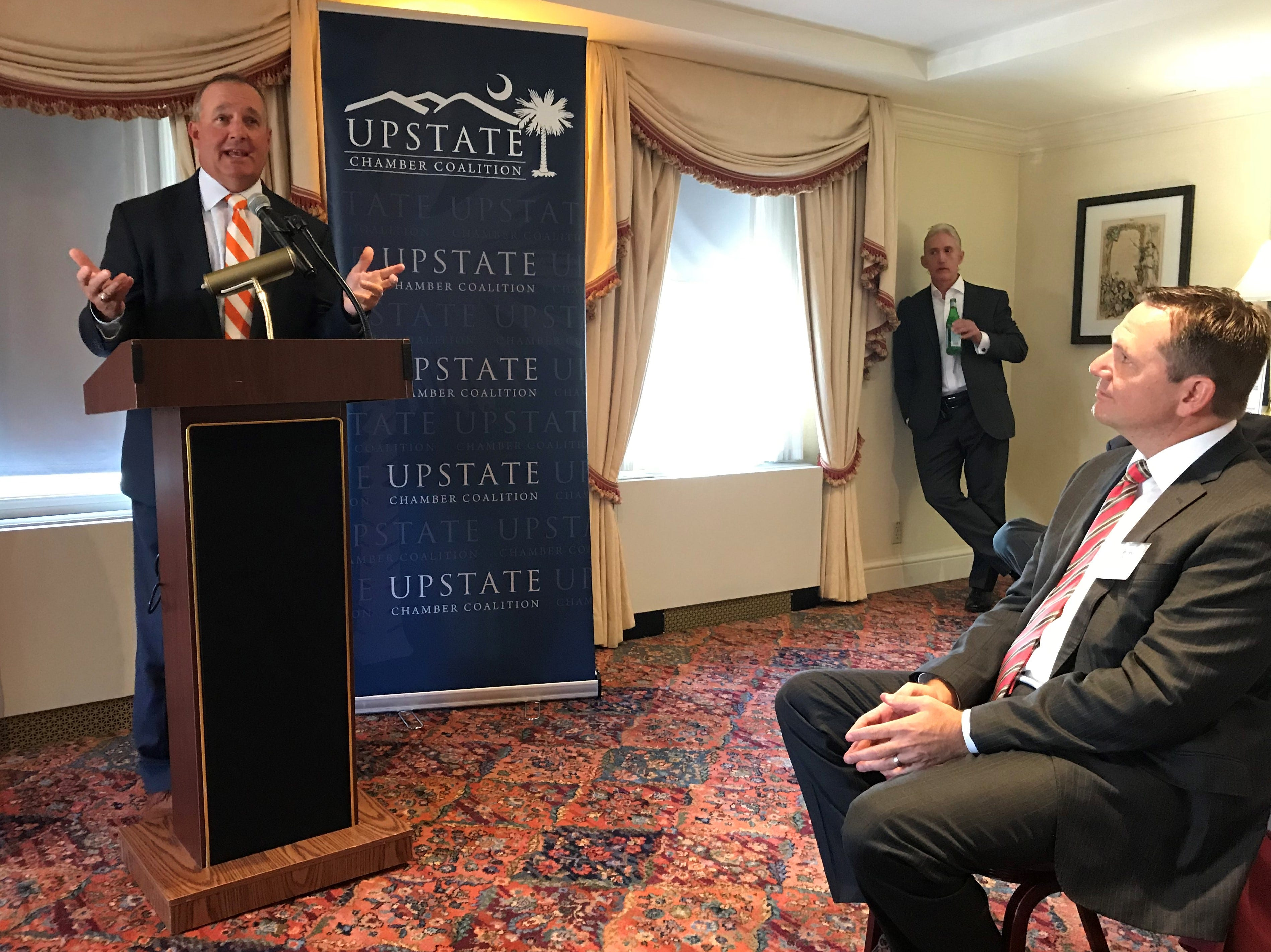 Rep.Jeff Duncan of South Carolina speaks Thursday, Sept. 6, 2018, in Washington, D.C., to a delegation from the Upstate Chamber Coalition as Rep. Trey Gowdy looks on.