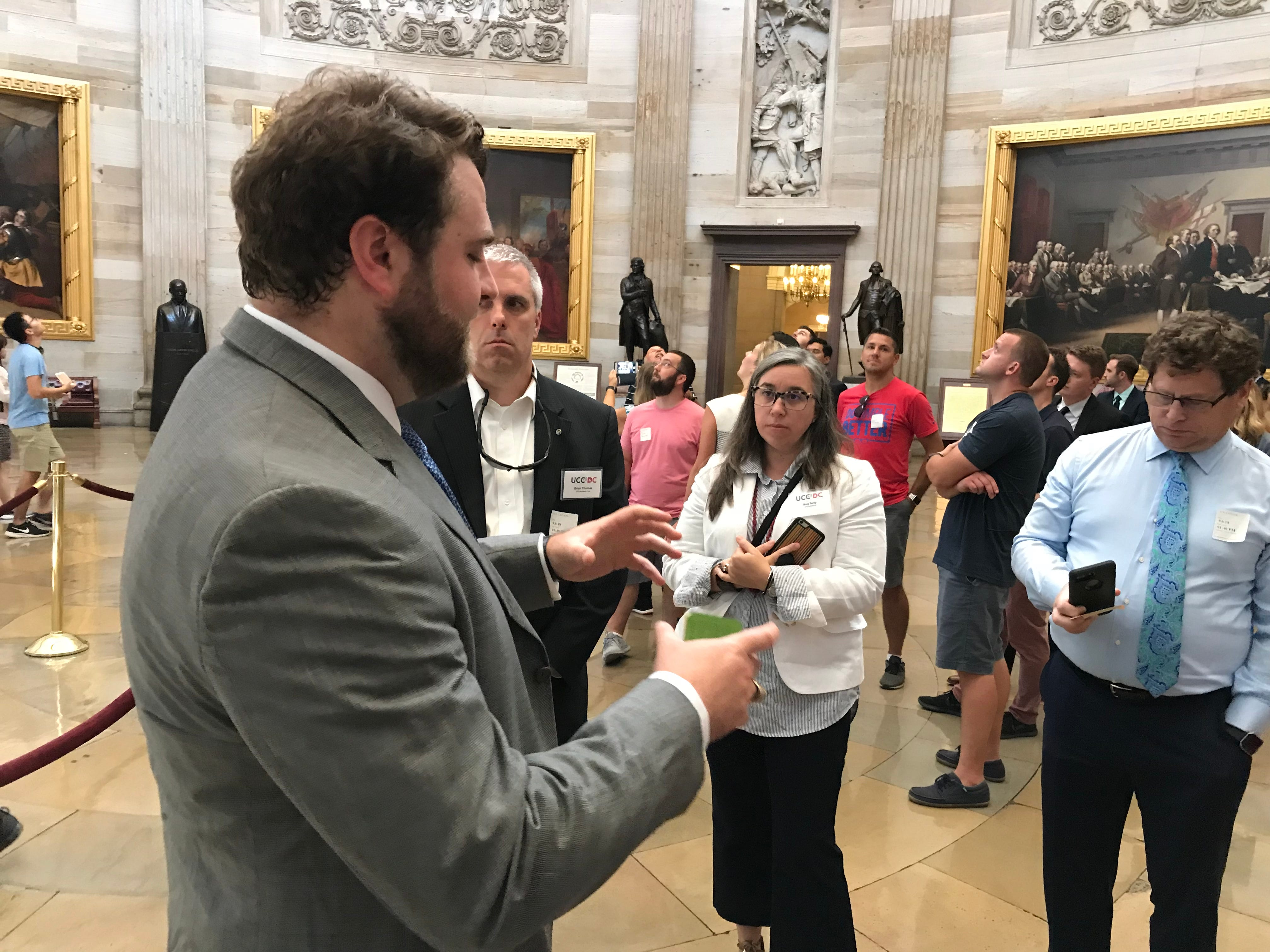 Clayton Chester, a legislative assistant for Rep. Trey Gowdy, explains the Frieze of American History in the rotunda of the U.S. Capitol during a tour for members of the Upstate Chamber Coalition on Thursday, Sept. 6, 2018.