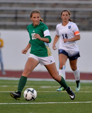 Great Falls High and CMR girls play the crosstown soccer match at Memorial Stadium, Thursday, Sept. 6, 2018.