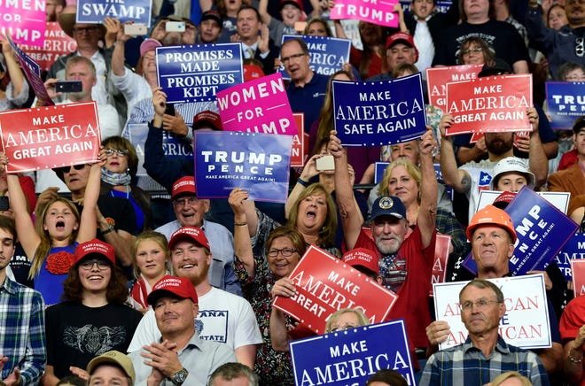 People cheer as President Donald Trump arrives to speak at a rally in Billings, Mont., Thursday, Sept. 6, 2018.(AP Photo/Susan Walsh)