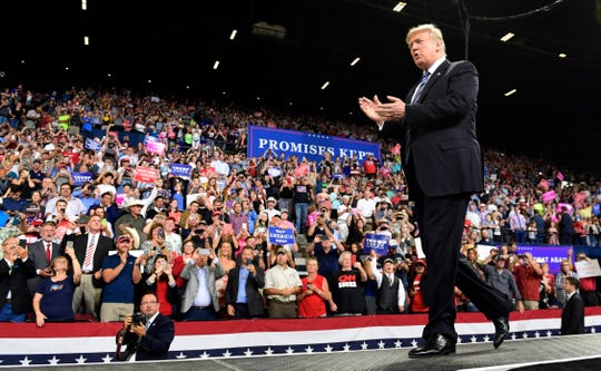 President Donald Trump arrives to speak at a rally in Billings, Mont., Thursday, Sept. 6, 2018.(AP Photo/Susan Walsh)