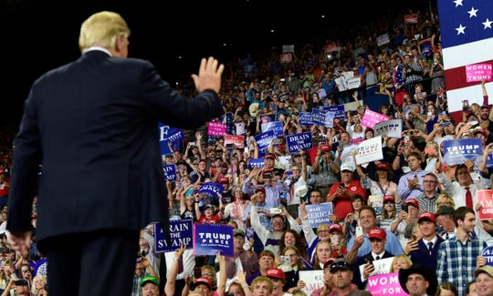 President Donald Trump arrives to speak at a rally at Rimrock Auto Arena in Billings, Mont., Thursday, Sept. 6, 2018. (AP Photo/Susan Walsh)