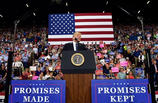 President Donald Trump speaks at a rally in Billings, Mont., Thursday, Sept. 6, 2018.(AP Photo/Susan Walsh)