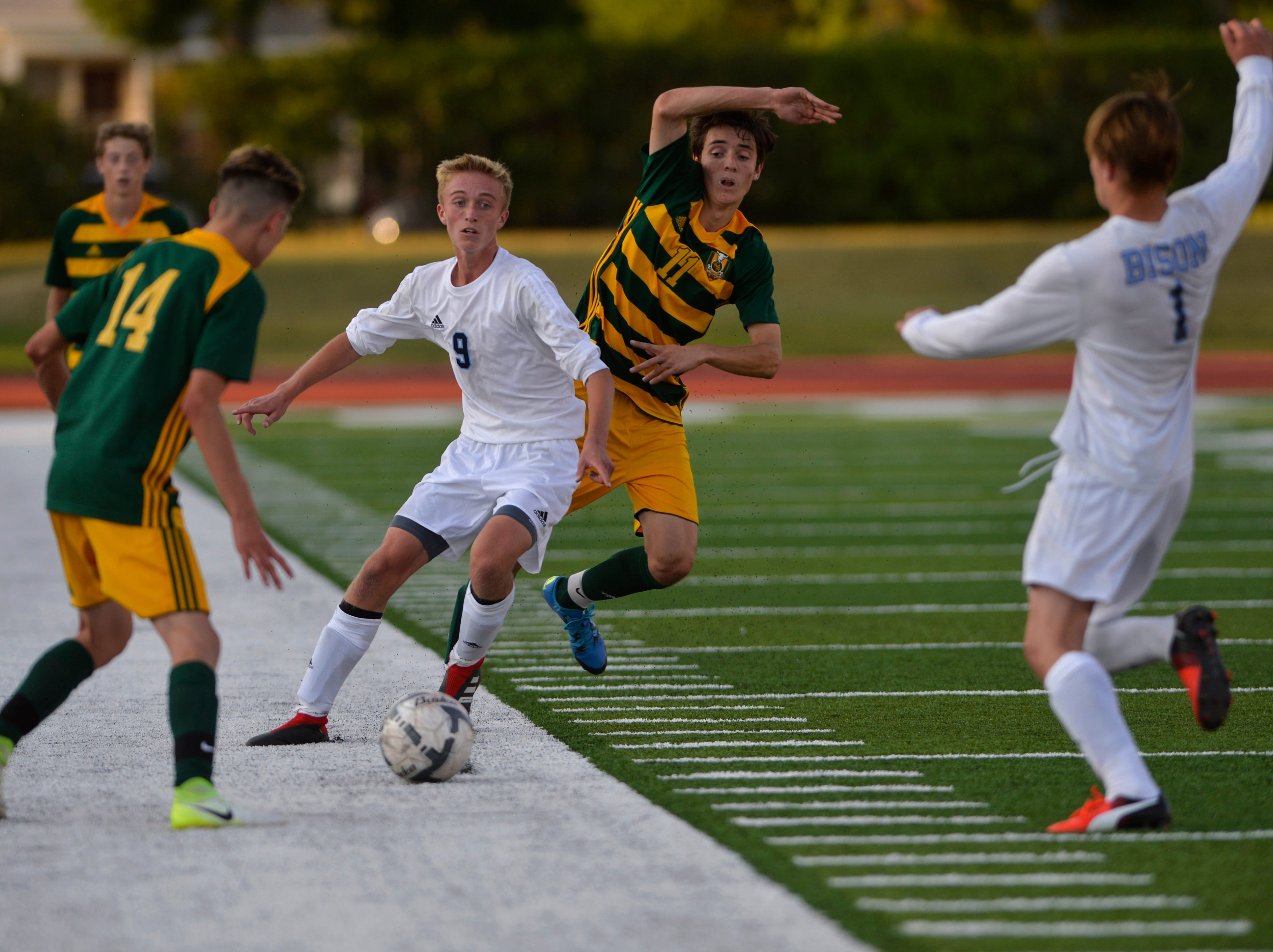 Great Falls High and CMR boys play the crosstown soccer match at Memorial Stadium, Thursday, Sept. 6, 2018.