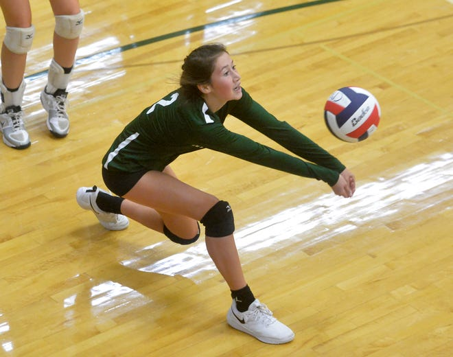 CMR's Lauren Lindseth makes a dig in a match earlier this season. The Rustlers swept Billings Senior Friday while Great Falls High fell to Bozeman.