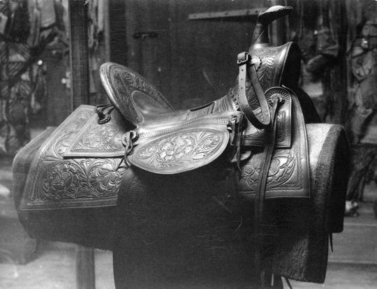 Western artist Charlie Russell's saddle.