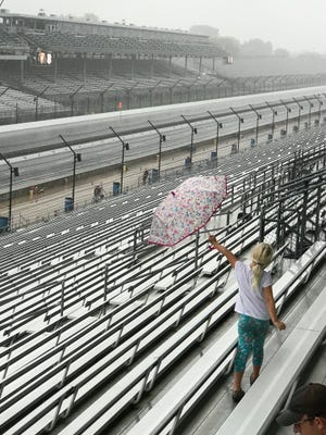 Rain falls at Indianapolis Motor Speedway on Friday, Sept. 7, 2018.