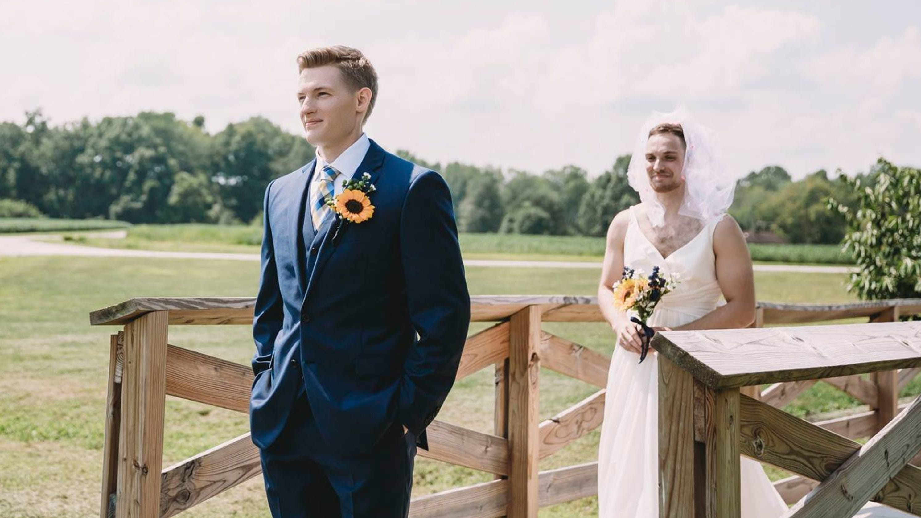 Indiana bride pulls amazing first look prank on her groom at their wedding