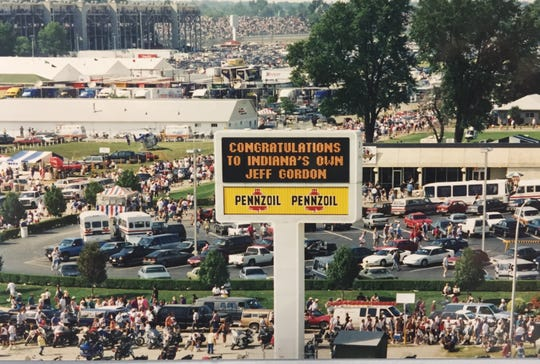 A sign at IMS declared Jeff Gordon the winner after the first Brickyard 400 in 1994.