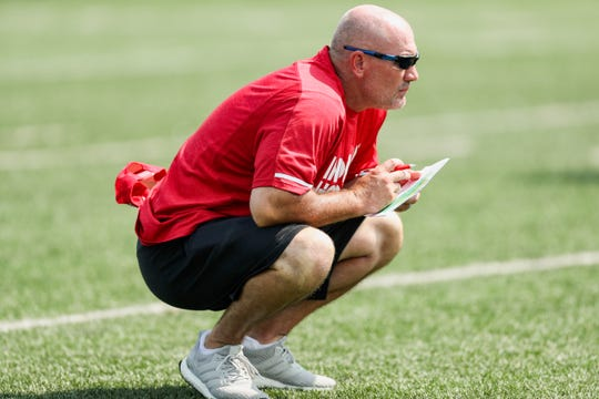 Indiana Hoosiers Athletic Performance Coach Matt Rhea during fall camp practice of 2018 in Bloomington.