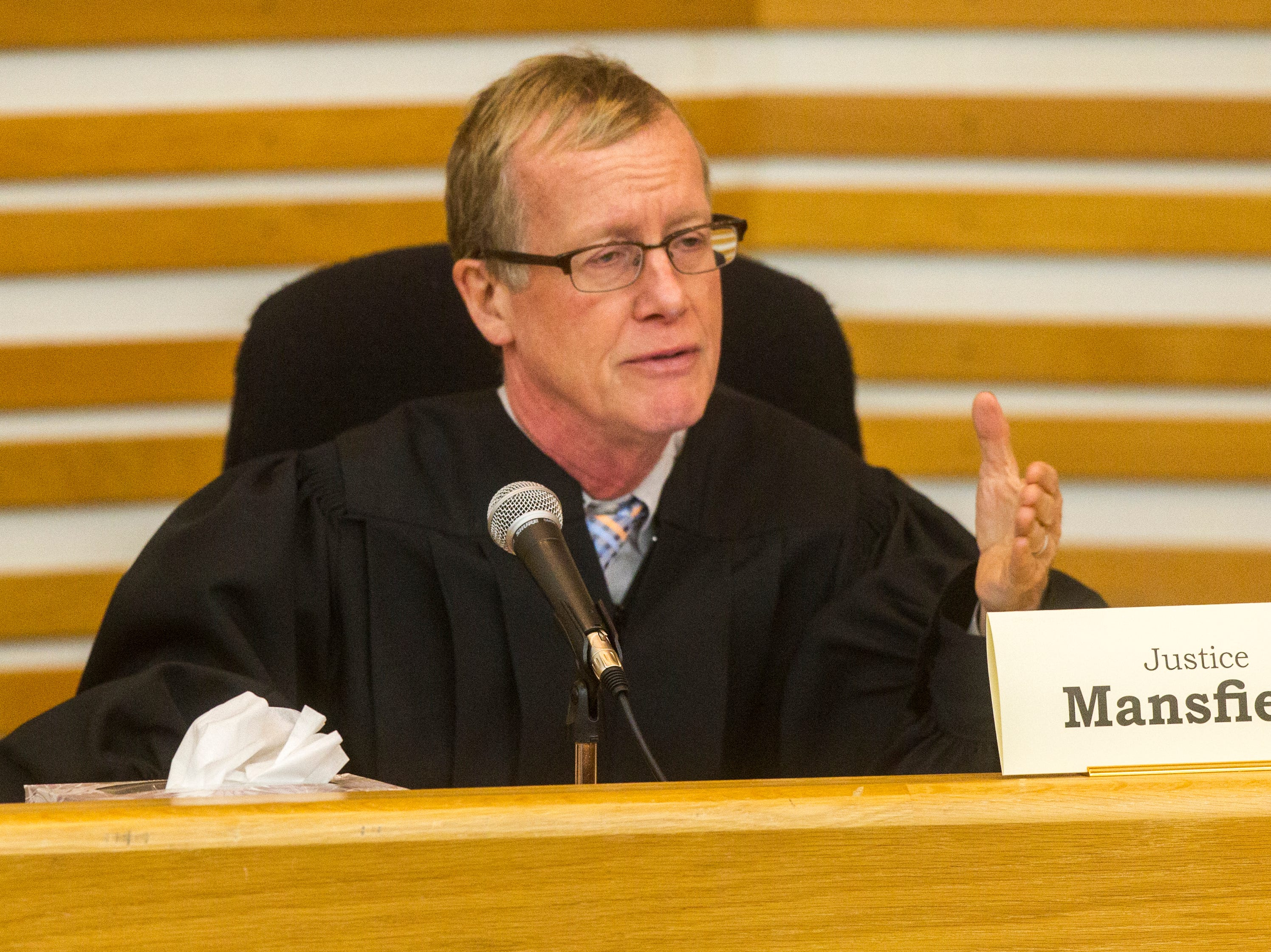 Justice Edward Mansfield of the Iowa Supreme Court speaks while oral arguments are presented on Friday, Sept. 7, 2018, at Levitt Auditorium inside the Boyd Law Building on the University of Iowa campus in Iowa City.