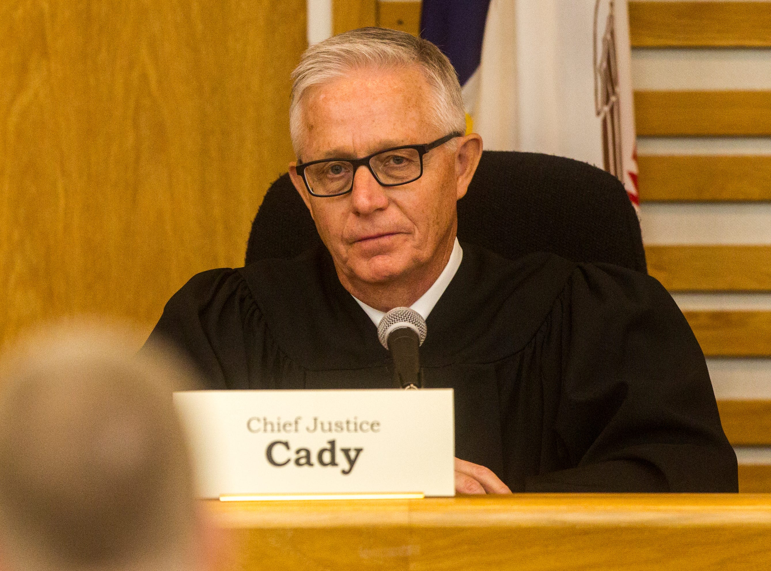 Chief Justice Mark Cady of the Iowa Supreme Court listens while oral arguments are presented on Friday, Sept. 7, 2018, at Levitt Auditorium inside the Boyd Law Building on the University of Iowa campus in Iowa City.