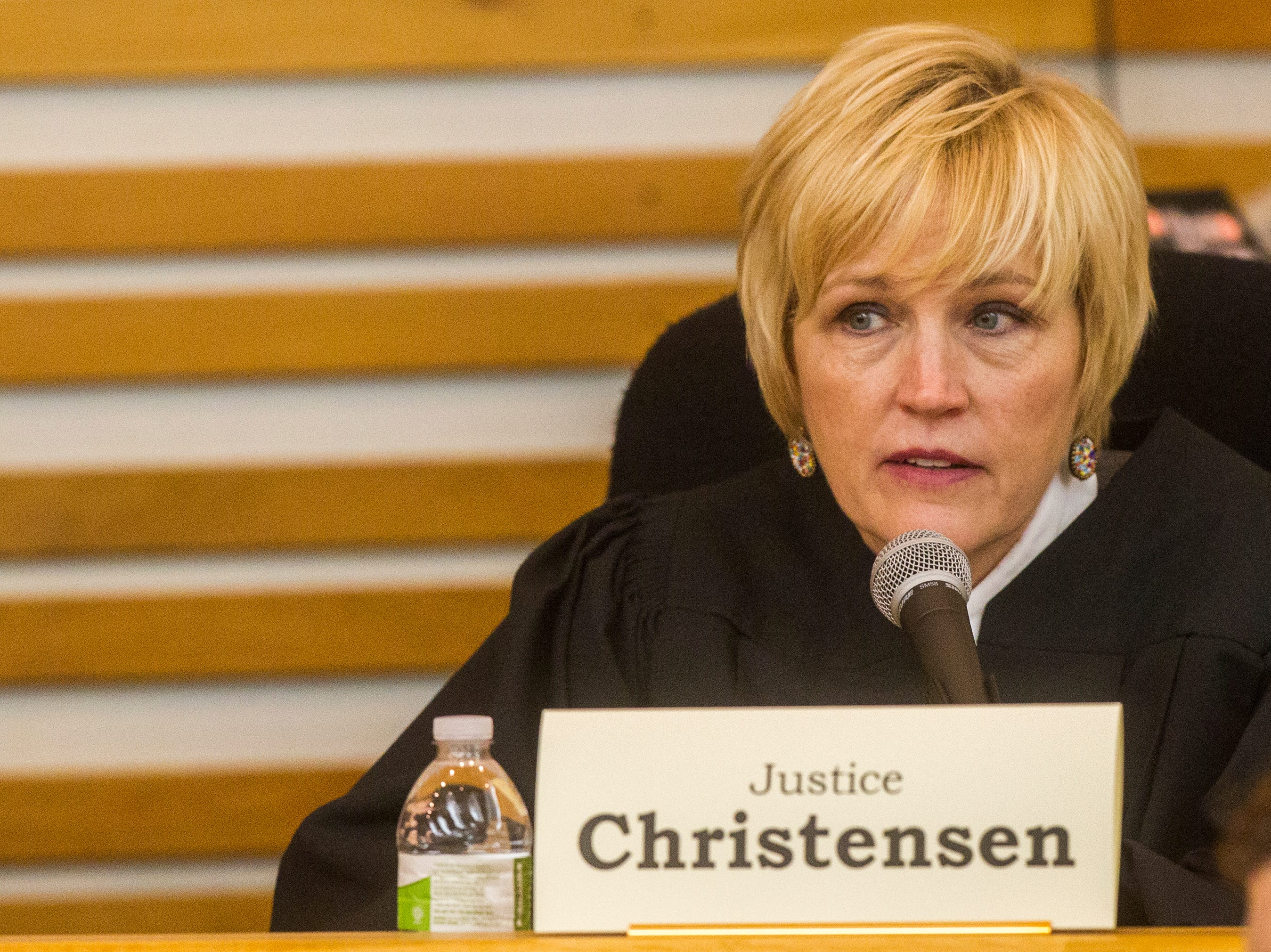 Justice Susan Christensen of the Iowa Supreme Court speaks while oral arguments are presented on Friday, Sept. 7, 2018, at Levitt Auditorium inside the Boyd Law Building on the University of Iowa campus in Iowa City.